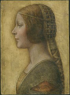 "Portrait of a Young Fiancée, also called La Bella Principessa (English: ""The Beautiful Princess""), is a portrait in coloured chalks and ink, on vellum, of a young lady in fashionable costume and hairstyle of a Milanese of the 1490s. Sold at auction in 1998 as an early 19th century German work, it has since been attributed to Leonardo da Vinci by some experts."
