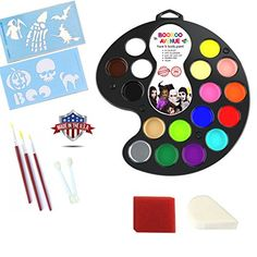 Non Toxic Face Painting Kit 16 Colors 3 Brushes 2 Sponges 2 Applicators 2 FREE HALLOWEEN STENCILS  MADE IN USA *** Visit the image link more details.