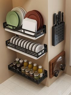 Dish Rack,DIY Storage Shelf Stainless Steel Utensils Holder Wall Mounted Corner Wall Shelves Spice,Cutting Board Stand for Kitchen,Bathroom. Spice 13 DIY your kitchen room with our products, you can select the shelves and combine them as you like. Kitchen Organization Wall, Diy Kitchen Storage, Kitchen Decor, Kitchen Ideas, Kitchen Layout, Kitchen Designs, Cheap Kitchen, Kitchen Interior, Kitchen Centerpiece
