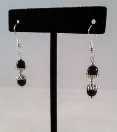 Sterling & Sunstone Bead Earrings