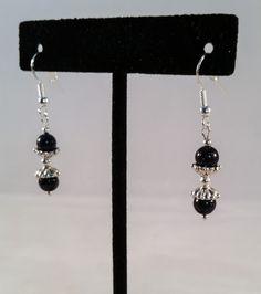 Sterling & Sunstone Bead Earrings