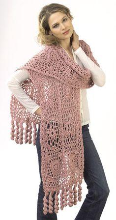Motif Lace Wrap Crochet Pattern from Caron Yarn | FaveCrafts.com