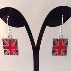 union jack flag enamel earrings by BrowniesCRAFTBOX on Etsy