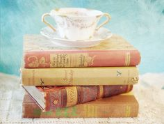 Vintage Books and Tea Cup