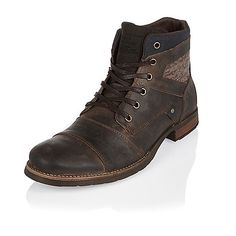 Brown leather knitted panel boots - boots - shoes / boots - men