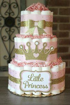 3 Tier Pink and Gold Princess Diaper Cake Princess Baby