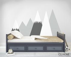 headboard MOUNTAIN view Wall DecalSnow mountain for kids by CGhome