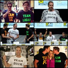 These shirts and these people: why I love and miss Veronica Mars. Ryan Hansen's shirt and that damn smile: why I am now in love with him. - Veronica Mars Movie cast at Comic Con - Kristen Bell, Jason Dohring, Chris Lowell, Ryan Hansen