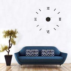 US$4.82 DIY 3D Roman Numeral Digital Wall Clock Mirror Acrylic