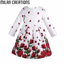 Creaciones de milán Vestido de Niña Vestido de la Princesa de Manga Larga 2016 de la Marca Ropa de Las Muchachas de Flores de Los Niños Vestidos para Niñas Trajes(China (Mainland))