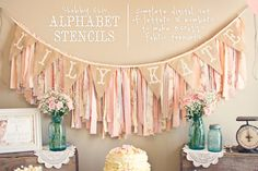 INSTANT DOWNLOAD - Printable Alphabet Stencils for Fabric Banner Pennant: Shabby Chic, Vintage, Birthday, Baby Shower, - PDF File, You Print