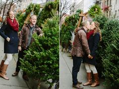 looking for a christmas tree in new york city - engagement photos by staceyhedman.com