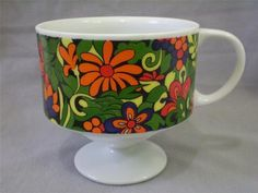 Holt Howard Pedestal Mug 7574 Mod Floral Jungle Print 1960s Orange Yellow Green