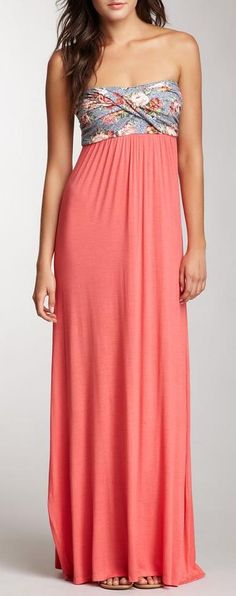 S.H.E. Wrapped Bust Strapless Maxi Dress