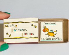 """Cute Unicorn Card /Friendship Card /Inspirational Card/ Encouragement Card """"You are Limited Edition"""" Matchbox /Be Wild Be Crazy Be Matchbox Crafts, Matchbox Art, Love Cards, Diy Cards, Diy Birthday, Birthday Cards, Diy Gifts For Friends, Fun Gifts, Cute Messages"""