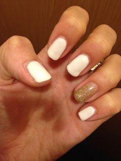 White & Gold  Nail art
