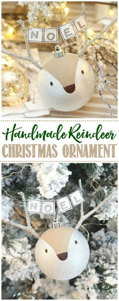 This cute DIY reindeer adds the perfect touch to your rustic or woodland Christmas tree. It's easy to make with just some simple materials. Christmas Lodge, Woodland Christmas, Handmade Christmas, Christmas Holidays, Felt Christmas Ornaments, Handmade Ornaments, Christmas Crafts, Christmas Decorations, Diy Christmas Reindeer