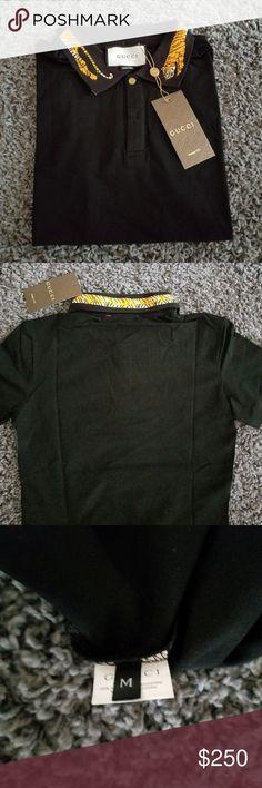 Gucci Shirt tiger Embroidery collar New Gucci polo with Tiger Embroidery on collar Size M slim fit Gucci Shirts Polos