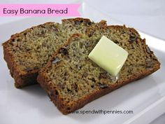 Easy Banana Bread!  Quick to make!  This moist loaf doesn't use lots of oil or butter!