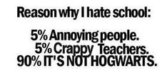 The second one is not true- I've always had great teachers. Unfortunately, it's still not Hogwarts
