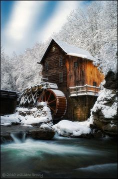 Glade Creek Grist Mill on a winters day. Babcock State Park, West Virginia    I think this is one of the prettiest pictures Ive seen of the mill yet!