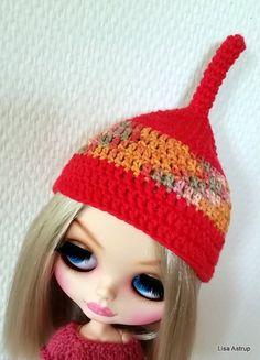 Pullip red helmet Blythe hat orange crochet hat by Cards4youArt