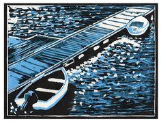 Boats at Pontoon - Reduction three color Lino-cut