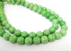 Green Round Beads Green Gemstone Round Howlite Beads by BijiBijoux