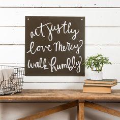 """Act-Love-Walk"" Sign from the Magnolia Market in Waco, TX Chip & JoAnna… Magnolia Farms, Magnolia Market, Magnolia Homes, Magnolia Fixer Upper, Chip And Joanna Gaines, My Dream Home, Home Decor Inspiration, Farmhouse Decor, Farmhouse Style"