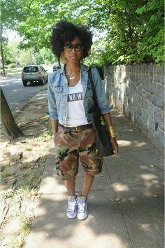 pants camouflage denim jacket natural classy sneakers black bag jacket shoes jewels shorts camouflage camouflage is part of braids - braids Black Women Fashion, Look Fashion, Girl Fashion, Womens Fashion, Fashion Tips, Camo Fashion, Fashion Clothes, Street Fashion, Camouflage Fashion
