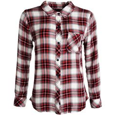 Rails Hunter checkered tencel shirt ($195) ❤ liked on Polyvore featuring tops, bordeaux, white shirt, rails shirts, shirts & tops, checkered shirt and checkered top