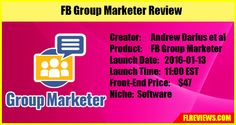To make the marketing process easy, FB Marketer has been developed to deal with all the marketing issues in relation to Facebook. http://flreviews.com/fb-group-marketer-review/