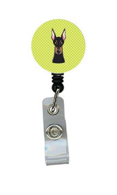 Checkerboard Lime Green Doberman Retractable Badge Reel BB1307BR