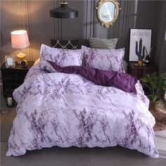 Queen Size Bed Set Brown Marble Printed Luxury Bedding Set King Size Bed Linen Single Duvet Cover Sets with Pillowcase Type 4 UK Double Marble Comforter, Marble Duvet Cover, Queen Bedding Sets, Duvet Sets, Purple Bedding Sets, Luxury Bedding Sets, Marble Bed Set, King Size Bed Linen, Duvet Bedding