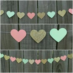 Peach, Mint Green and Gold Garland, Coral, Paper Garland, Paper Heart Garland… Paper Heart Garland, Paper Garlands, Paper Decorations, Green And Gold, Mint Green, Diy Wedding, Dream Wedding, Mint Decor, Peach Party