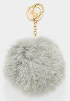 Large Rabbit Fur Pom Pom Keychain, Key Ring Bag Pendant Accessory - Light Grey