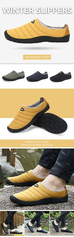 US$28.85 Men Plush Lining Waterproof Cloth Slip On Soft Sole Casual Slippers