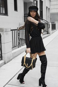 www.streetstylecity.blogspot.com  Fashion inspired by the people in the street ootd look outfit sexy high heels legs woman girl skirt miniskirt lbd otk boots