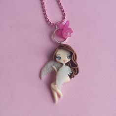 Little angel necklace in fimo polymer clay by Artmary2 on Etsy