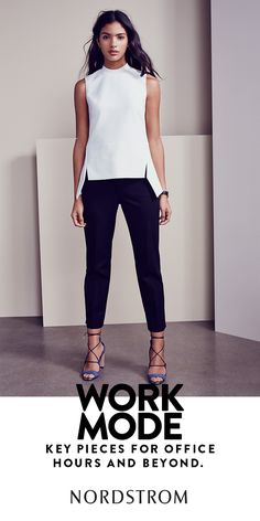 White top, black pants, bright shoes. This chic wear-to-work outfit works just as well in the office as it does on the town.