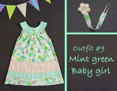 """Mint green"" baby girl summer outfit: cotton A-line dress, pacifier clip with felt flower - by RobyGiup handmade"