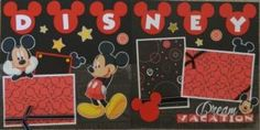 """Available is an adorable Mickey and Minnie double layout. The first page has the title """"My Disney Trip"""", 2 die cuts of Mickey/Minnie and 2 photo mats. The second page has 3 photo mats, space for writing and another adorable Minnie w/pink bow. Album Scrapbook, Vacation Scrapbook, Disney Scrapbook Pages, Scrapbook Page Layouts, Scrapbook Paper Crafts, Scrapbooking Ideas, Disney Theme, Disney Fun, Disney Ideas"""