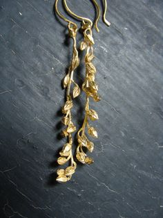 18K Gold Vermeil Long Ericacea Winter Bud Earrings. $178.00, via Etsy.
