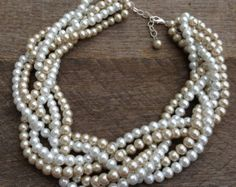 Pearl Necklace Champagne White Six Strand Braided Cluster on Silver or Gold Chain - Wedding, Bridal, Birthday