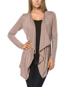 Another great find on #zulily! Khaki Drape Open Cardigan by Magic Fit #zulilyfinds