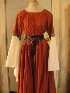 Cotton 12thC Style Angel Sleeve Custom Dress Medieval SCA LARP Renaissance Pagan. $70.00, via Etsy.