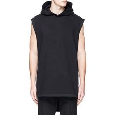 Givenchy Sleeveless side zip hoodie ($1,040) ❤ liked on Polyvore featuring men's fashion, men's clothing, men's hoodies and black