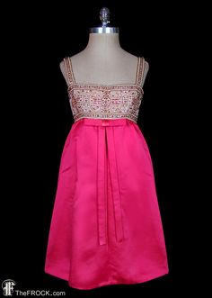 Pauline Trigere 1960s jewel evening / cocktail / reception dress, beaded jeweled French couture, sleeveless, silk satin, empire waist