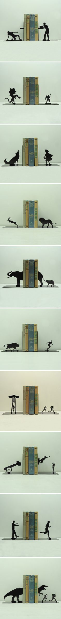 Clever bookends. I like the alien invasion and the t-rex