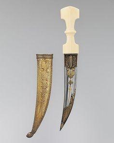 Jambiya Dagger with Sheath.      Dated: 19th century.     Culture: Arabian.
